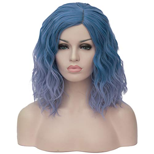 Mildiso Blue Wigs for Women Short Bob Wavy Heat Resistant Synthetic Soft Full Hair Wig, 14'' Shoulder Length Cute Wig for Party Cosplay Daily Use with Comfortable Wig Cap M004B