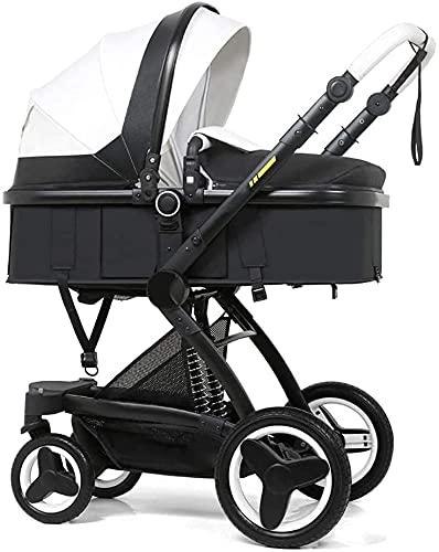 Cochecito combinado , Cochecitos compactos para bebés convertibles, Sistema de viaje Carrito infantil Cochecito de bebé portátil, camioneta multifuncional Vista alta paraguas Piel de bebé, arnés de 5