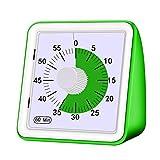 WANZSC 1 temporizador analógico visual de 60 minutos, herramienta de gestión de tiempo silenciosa para niños y adultos, seguro y duradero (verde)