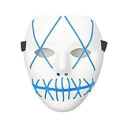 Queta Maschere di Halloween a LED Light Horror Mask Spaventoso El Wire con 4 modalit/à per Halloween Party Natale Cosplay Grimace Festival Party Show Rosso Alimentato a Batteria