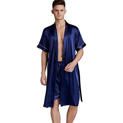 KTUCN Conjunto de Albornoz de Seda Satinada, Batas de Seda de Gran tamaño para Hombre Primavera Verano con Pantalones Cortos Traje de Pijama de Dos Piezas, Armada, XXXL