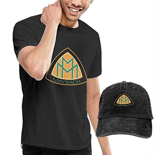 Baostic Herren Kurzarmshirt New Maybach Motors Logo Fashion T Shirt+Cowboy Hat for Gentleman Black