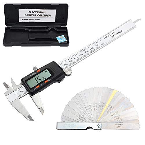 CAMWAY Digitaler Messschieber + Fühlerlehre, 150 mm / 6 Zoll Edelstahl, Bruch/Zoll/metrische Umrechnung Messwerkzeug für Länge Breite Tiefe Innendurchmesser Außendurchmesser, mit LCD-Bildschirm
