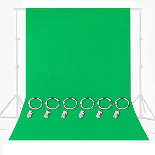 MOHOO Green Screen, 7x5 ft Green Chromakey Muslin Backdrop with 6 Ring Metal Holding Clips, Solid Color Green Photography Backdrop Background for Studio Video Photo Photography