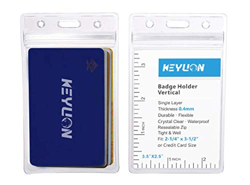 """KEYLION 10 Pack ID Card Badge Holder Vertical, Heavy Duty Clear Vinyl Plastic PVC Sleeve Cover w Waterproof Resealable Zip, fit 5 Credit Size Cards or 2-1/4"""" x 3-1/2"""" Name Badge Inserts"""