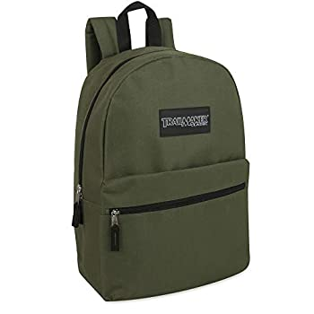 Trailmaker Classic 17 Inch Backpack with Adjustable Padded Shoulder Straps  Green