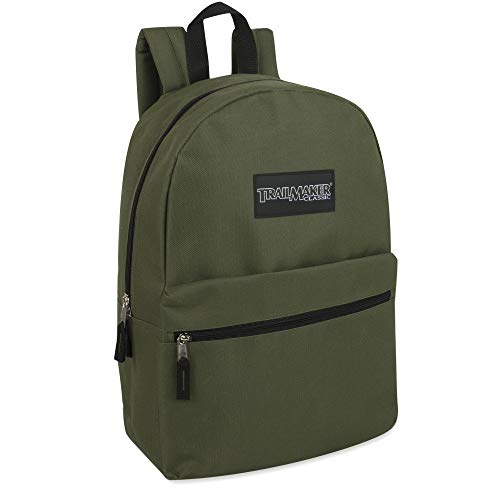 Trailmaker Classic 17 Inch Backpack with Adjustable Padded Shoulder Straps (Green)