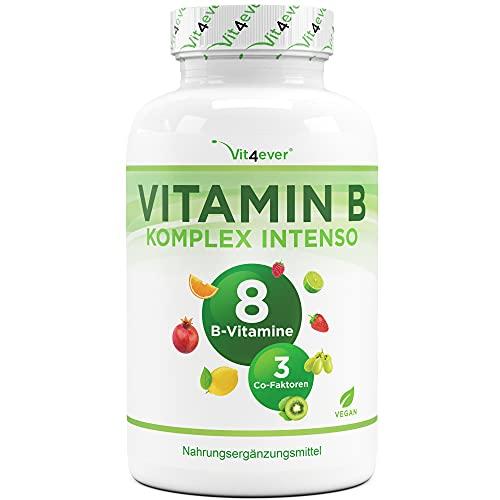 Vitamin B Complex Intenso - 180 cápsulas (6 meses) - Premium: Con formas bioactivas de vitamina B + cofactores - Dosis hasta 10 veces mayor que otros complejos vitamínicos B - Vegano