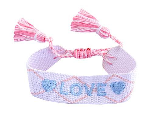 • Kiss Me! • TopModel Ibiza Indian fabric borlas pulsera Love bordado inscrito infinito amistad amor