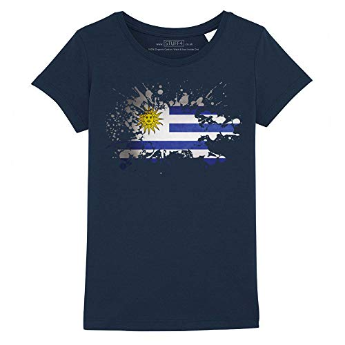 Stuff4 Ragazze/età 12-14 (152-164cm)/Blu Navy/Girocollo T-Shirt/Uruguay/Uruguayan Bandiera Splat