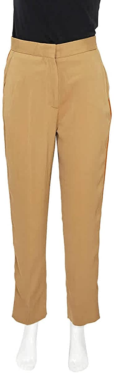 BURBERRY Satin Stripe Crepe Tailored Trousers in Driftwood, Brand Size 6 (US Size 4)