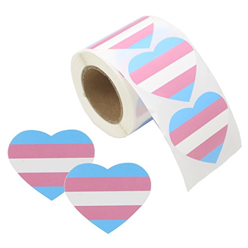 Love Pride Stickers Heart Shaped Roll Tape 250 Stickers Gay Pride Support LGBT (Heart - Transgender)