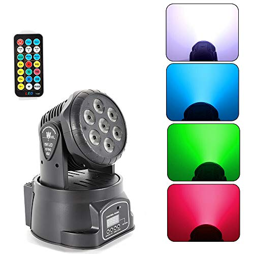 LED Mini Moving Head DMX-512 Stage Lighting 105W 9/14 Kanäle für Party Disco Ballsaal Stab Stadium Club, Romantisch 7×10W LED RGBW Mischfarbe Abnehmbare Bühnenlichter