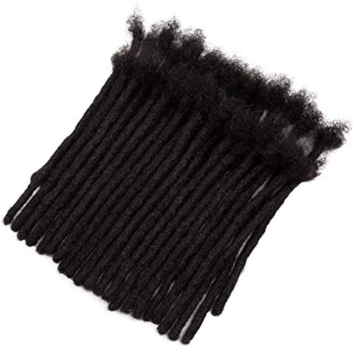 Dreadlock Extensions Made From 100% Human Hair Handmade Permanent Loc Extensions For Men/Women, Can Be Dyed ,Curled and Bleached,Natural Black Width 0.8cm (8 Inch,70 Strands)