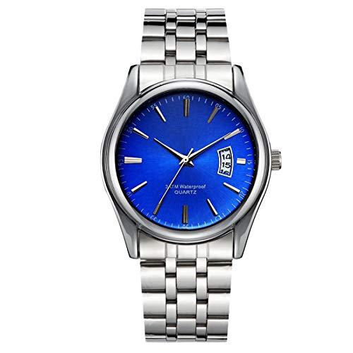xiaoxioaguo Reloj de lujo de los hombres 30 m impermeable fecha reloj masculino deportivo reloj de cuarzo casual correa de plata espejo azul