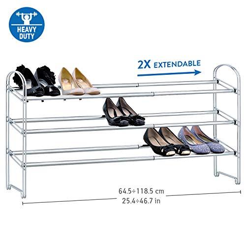 Tafkraft Maestro - Etagère à Chaussures en Acier Chromé 3 Etages – Porte-Chaussures Extensible – Meuble à Chaussures Réglable – Dimensions : 64.5-118.5x22.5x53.5 cm