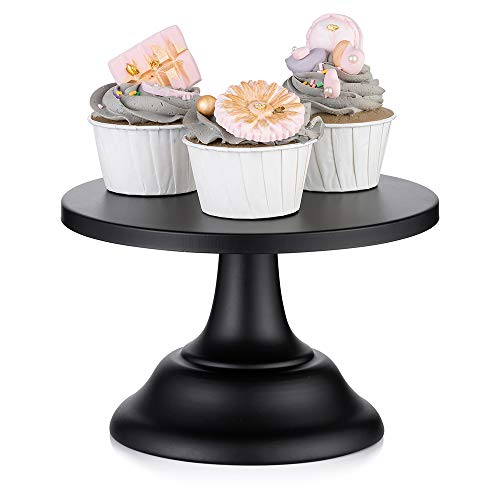 "Black Cake Stand Wedding Dessert Cupcake 8 inches/ 20cm Round Cake Stands for Birthday Party Wedding Anniversary Baby Shower (Black, Diam 8"")"