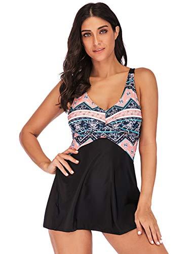 FeelinGirl Mujer Traje de Baño Falda Elegante Estampado Conjuntos de Dos Piezas Sexy Deportivo Talla Grande con Braga Bañador Negro XXL:Talla-46