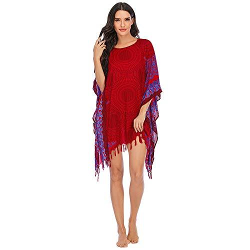 JOSDA Moda casual trajes de baño para mujer, camiseta de moda bohemia para el hogar, pijama casual, suelta y suave toalla de playa