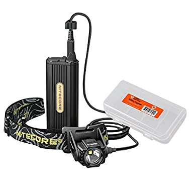 Nitecore HC70 1000 Lumen LED Caving & Exploring Headlamp with External Battery Case Plus Lumen Tactical Battery Organizer