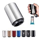 SUOXU - Apribottiglie magnetico automatico in acciaio inox, apribottiglie, apribottiglie, apribottiglie per vino, birra, bibite, accessori da cucina, calamita per birra (argento)