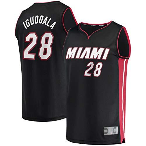 QWRE Camiseta de baloncesto AndreIguodala para hombre #28 Miami Heat Fast Break Road Player Jersey chaleco cuello redondo - negro