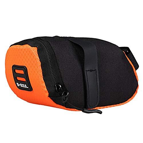 Everpert Fahrrad Satteltasche,Reflektierende Fahrradsatteltasche Fahrradtasche MTB Fahrradhecktasche Sitzaufbewahrungstasche(Orange)
