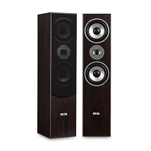 auna L766 - HiFi Boxen-Paar, Stand-Lautsprecher, Lautsprecher-Boxen, 3-Wege-Technik, Bassreflex, 20 Hz bis 20 kHz Frequenzgang, 8 Ohm Impedanz, max. 350 W Leistung, Holz-Chassis, walnuss