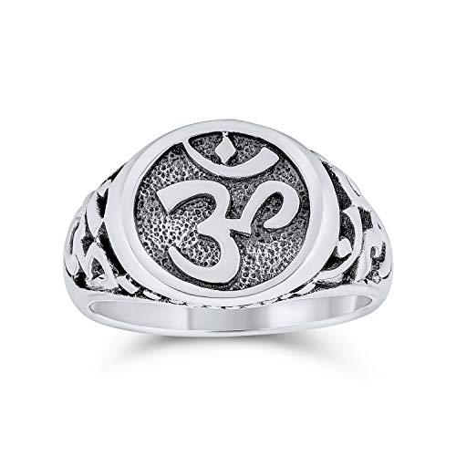 Religiosi Spirituale Yogi Simbolo Aum Sanscrito Ohm Om Signet Anelli Per Donne Per Uomini Ossidato Argento 925