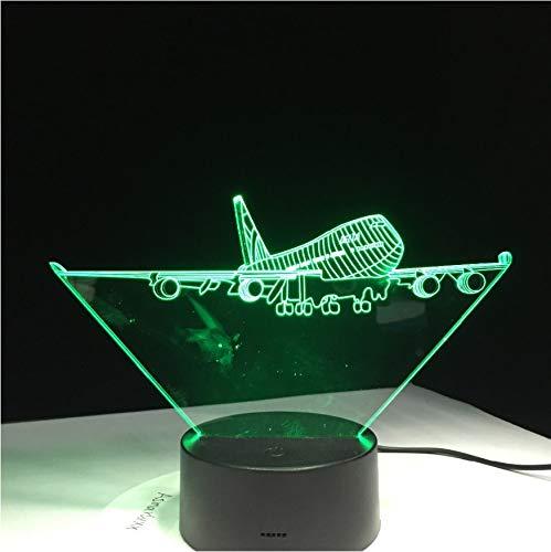 Nachtlicht Flying Big Wings Flugzeug A380 3D Lampe Rgb Stimmungslampe 7 Farben Licht Led Nachtlicht Geburtstag Urlaub Dekor Geschenk Für Kinder Freund