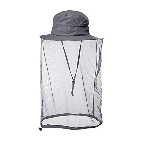 Mosquito Head Net Hat, Sun Hat Safari Hat with Mesh Face Cover for Men Women Gray