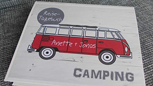 Camping-Reise-Tagebuch mit Bus PERSONALISIERBAR Ringbuch DIN A5