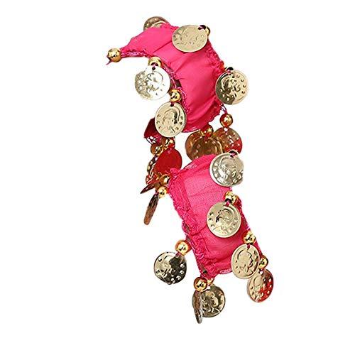 Bauchtanz Handgelenk Handkette Manschette Armband Mit Goldfarbenen Münzen Rose 2 Eine Größe