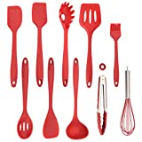 Silicone Cooking Utensils Kitchen Utensil Set - 10 Pieces Silicone Cooking Tools Turner Tongs Spatula Spoon for Nonstick Cookware - Kitchen Accessories, Silicone Spatula set, Serving Utensils …