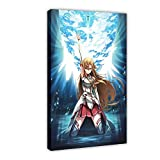 Anime Espada Art Online Canvas Poster Dormitorio Decoración Deportes Paisaje Oficina Decoración de Sala Regalo 08 × 12 pulgadas (20 × 30 cm) Marco-estilo1