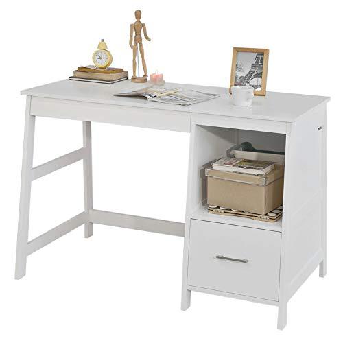 SoBuy Skrivbord med bokhylla och lådor, Databord Längd 120 cm Bredd 60 cm Höjd 78 cm vit FWT38-W