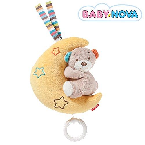 Baby-Nova Spieluhr Mond mit Teddy Bär, Einschlafhilfe für Babys, Musikspieluhr Brahms Wiegenlied, Schlafhilfe zum Aufhängen – weitere Melodien & Motive...