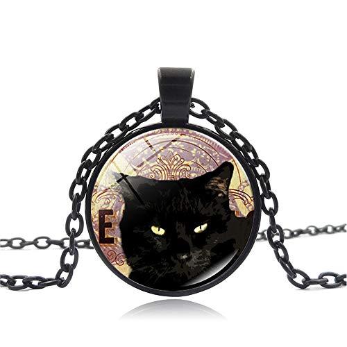AMTBBK Halloween Halsketting, Cabochon glazen hanger, zwarte kat foto, hanger ketting, retro trui ketting, verstelbaar, met sieradendoos, geschikt voor mannen en vrouwen