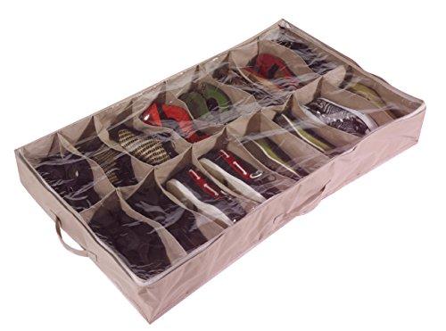 Brilliant Feet Caja organizadora de Zapatos para Debajo de la Cama (para 16 Pares, de Robusta Lona Oxford de 600D, con Tapa Transparente de PVC, 60 x 15 x 100 cm)
