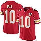 QMLT Camiseta de fútbol Americano de Hombre Chiefs Hill 10#, Fibra de poliéster Ligera, Panel Lateral de Malla Camiseta de Entrenamiento de Secado rápido para fanáticos del Rugby Top bordado-red1-XL