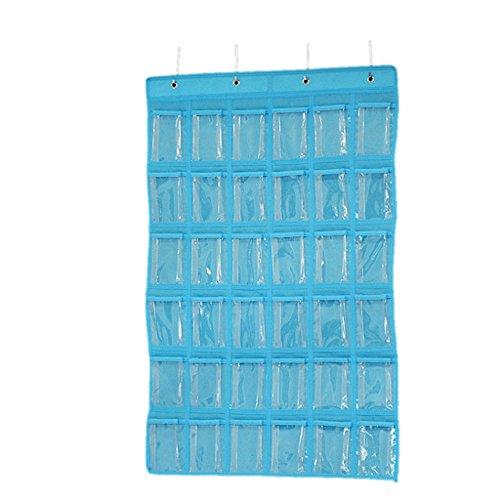 Generic Mini 36-Taschen Klar Aufbewahrungsbeutel Schmuck Schrank Wand Organizer, 60x 90cm - Blau, 60x 90cm