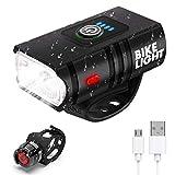 Yolife Bike Light Set, USB Rechargeable Headlight with Free Rear Light, 6 Light