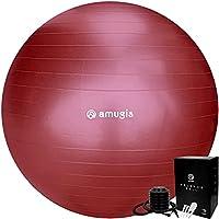 amugis バランスボール ヨガボール 55cm アンチバースト 耐荷重500KG 椅子 腰痛予防 ダイエット フットポンプ付き (bordeaux/ボルドー, 55cm)