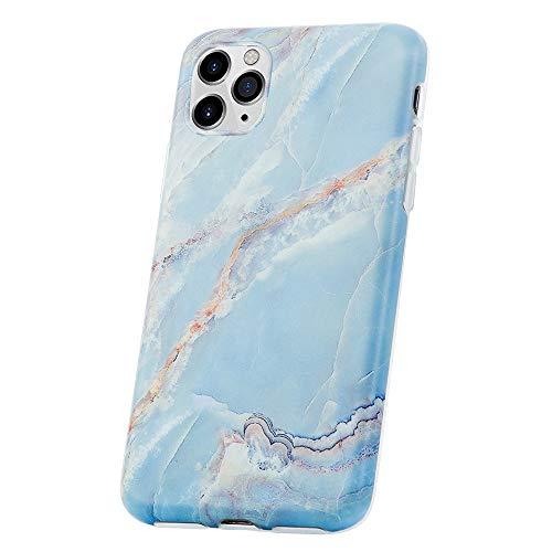 QULT Bumper Compatible pour Coque iPhone 11 Pro marbre Bleu Matte Siliconee Etui Flexible Case TPU Cover pour iPhone 11 Pro Marbre Blue
