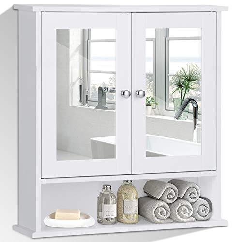 COSTWAY Spiegelschrank Badezimmer, Badschrank mit Spiegel, Badezimmerschrank weiß, Badezimmerspiegel mit Ablage, Hängeschrank Badmöbel, Badezimmerspiegelschrank 58,5x56,5x13,5cm