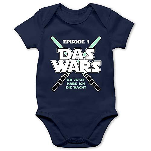 Shirtracer Zur Geburt - Das Wars Jetzt Habe ich die Macht Junge - 1/3 Monate - Navy Blau - Body Jungen lustig - BZ10 - Baby Body Kurzarm für Jungen und Mädchen