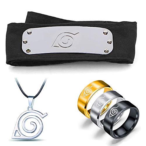 Naruto verstellbares Metallblatt Dorf Stirnband Ninja Uchiha Sasuke Kakashi Cosplay Set Ring Halskette (B)