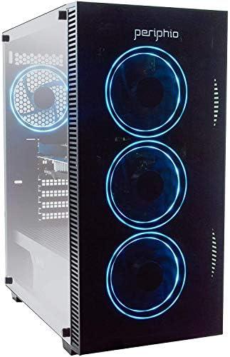 Periphio Blue Gaming PC Tower Desktop Computer, Intel Quad Core i5 3.4GHz, 16GB RAM, 120GB SSD + 1TB 7200 RPM HDD, Windows 10, Nvidia GT1030 Graphics Card, RGB, HDMI, Wi-Fi (Renewed) (Gaming PC Only)