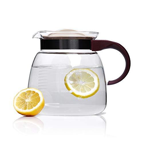 YIFEI2013-SHOP Jarra de Agua Jarra de Vidrio de 1800 ml con Mango de Vidrio Cafare con la línea de Escala de precisión, Soporte de Alta Temperatura, Verter Agua sin Goteo Jarras