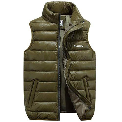BAONUANY Gilet Mensen, Leger Groen Winter Vest Vrouwen Taillejas Thermische Vesten Voor Casual Losse Warm Mouwloos Down Jacket